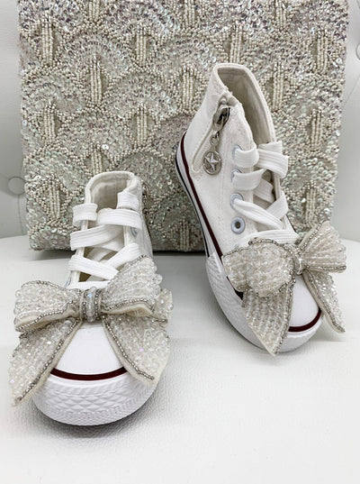 Girls High Top Zip Up Glitter Bow Sneakers