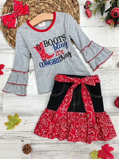 "Girls ""Boots Bling, It's a Cowgirl Thing"" Top and Paisley Ruffled Denim Skirt Set"