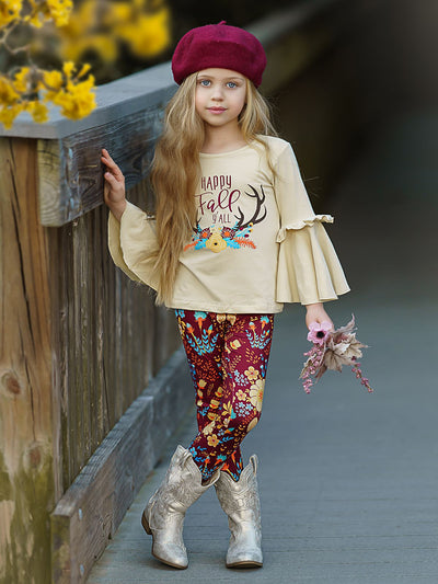 "Girls ""Happy Fall Ya'll"" Floral Reindeer Print Bell Sleeve Top & Floral Leggings Set"