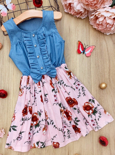 Girls Soft Denim Ruffled Top and Floral Skirt Dress 2T-10Y
