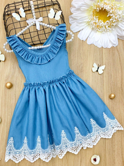Girls Soft Denim with Ruffled Collar and Lace Hem Dress 2T-10Y spring