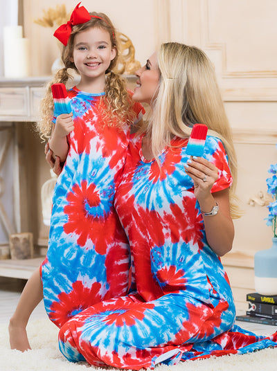Mommy and Me red/blue tie-dye maxi dress with short sleeves and breast pocket