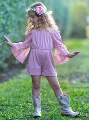 Girls Lace Sleeve Romper 2T-10Y Pink Spring