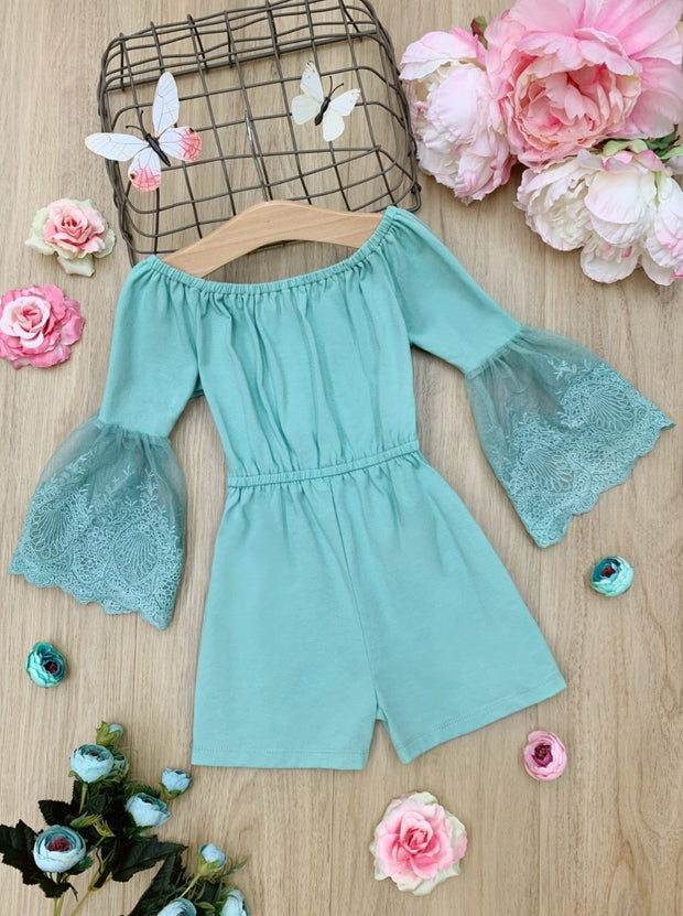 Girls Lace Sleeve Romper 2T-10Y blue Spring