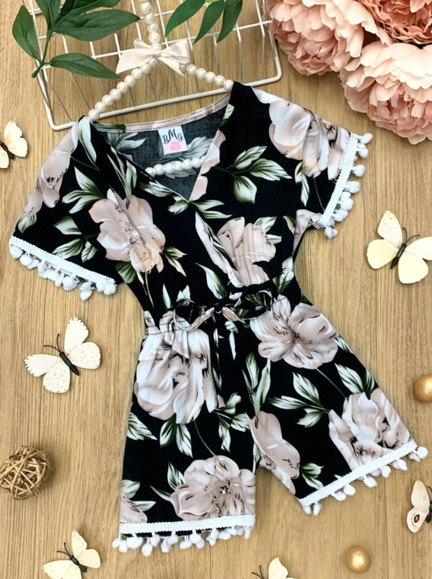 Girls Floral with drawstring and Pom Pom Romper black, beige and off white 2T-10Y Spring