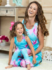 mommy and me aqua tie-dye pajamas feature a tank-style top and loose fit bottoms