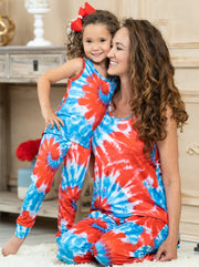 Mommy and Me blue tie-dye pajamas feature a tank-style top and loose fit bottoms