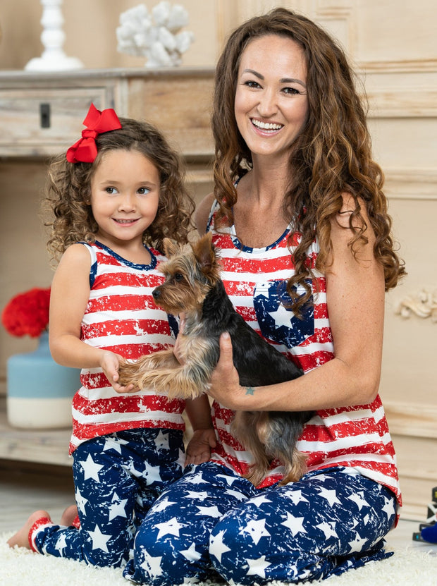 Mommy and Me pajamas feature a white/red striped tank-style top with starred breast pocket and blue/white starred loose fit bottoms