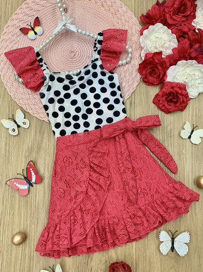 girls spring white ruched, v-neck top with black polka dots with dotted tulle sleeves and a hot pink ruffled wrap skirt that ties at the waist 2T-3T to 10Y/12Y