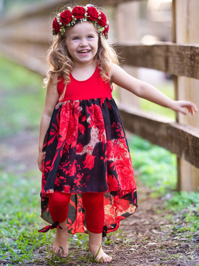 girls spring red floral tunic and capris leggings 2T/3T-10Y/12Y