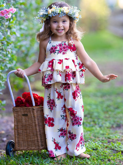 Girls Spring Floral Top with ruffles and spaghetti straps and Palazzo Pants Set white with red flowers 2T/3T-10Y/12Y Spring