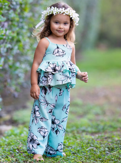Girls Spring Floral Top with ruffles and spaghetti straps and Palazzo Pants Set mint with black and white flowers 2T/3T-10Y/12Y Spring