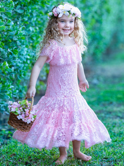 Girls Lace Off the Shoulder Ruffled Midi Dress - Girls Spring Casual Dress 2T-10Y