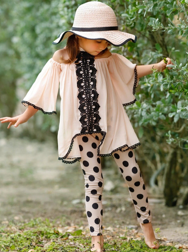Girls Lace Halter Neck Tunic and Leggings Set - Girls Spring Casual Set