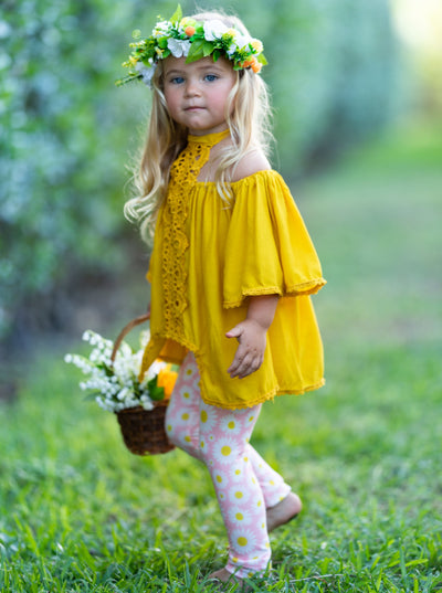 Girls Lace Halter Neck Tunic and Leggings Set - Yellow / 2T/3T - Girls Spring Casual Set
