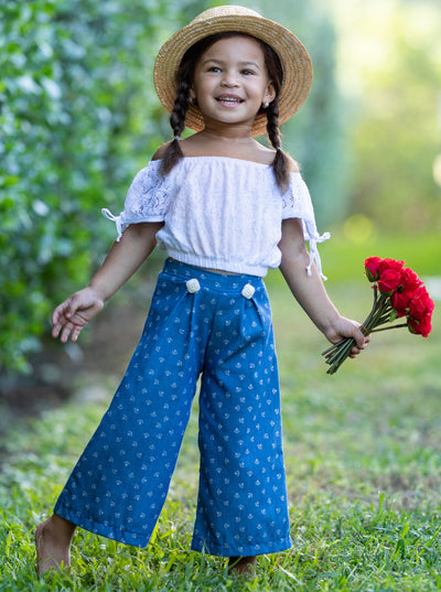 Girls Tie Sleeve Crop Top and Buttoned Palazzo Pants Set - Denim / 2T/3T - Girls Spring Casual Set