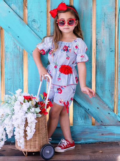 Girls Pinstripe Floral Off Shoulder Ruffle Top and Shorts Set - Blue / 2T/3T - Girls Spring Casual Set