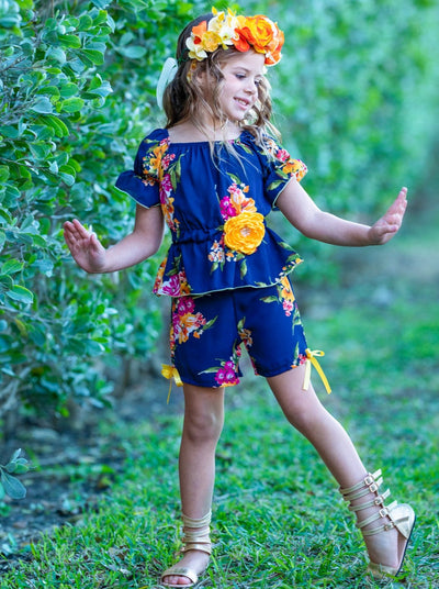 Girls Off Shoulder Boho Ruffle Sleeve and Shorts Set - Girls Spring Casual Set