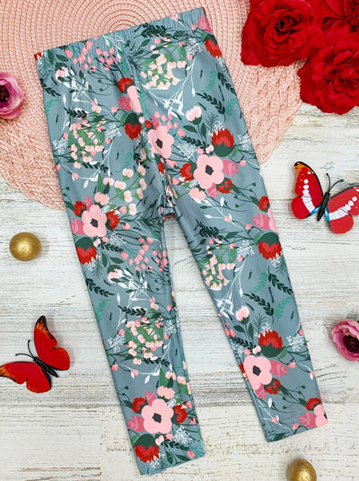 girls capris grey with pink and hot pink flowers 2T-10Y
