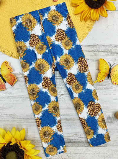 girls capri legging blue with yellow sunflowers and blue hearts 2T-10Y