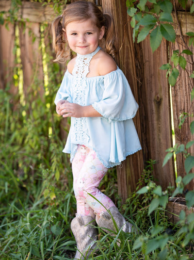Girls Lace Trim Halter Neck Tie Top & Printed Leggings Set - Blue / 2T/3T - Girls Spring Casual Set