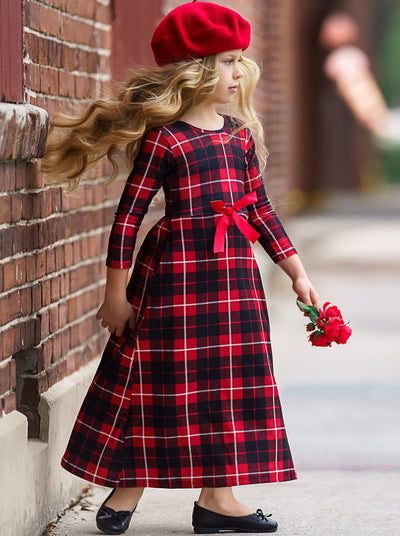 Girls Red & Black Plaid Long Sleeve Maxi Dress with Front Bow