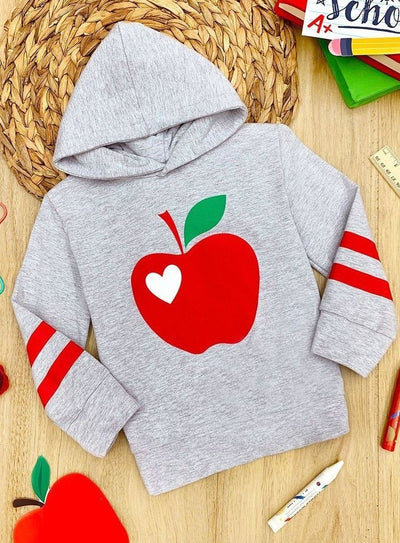 Girls Apple Sleeve Stripe Hoodie Sweater