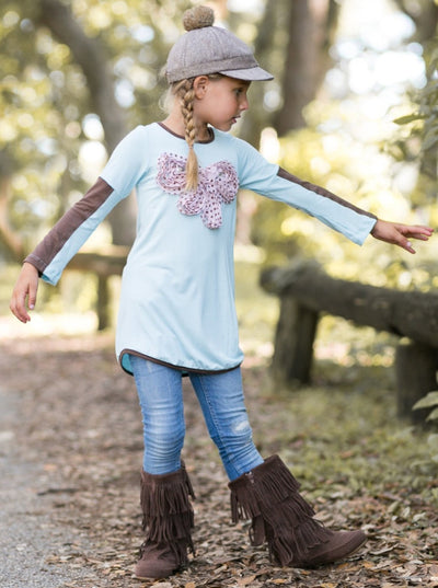 Girls Baby Blue Tunic with Dotted Bow Applique