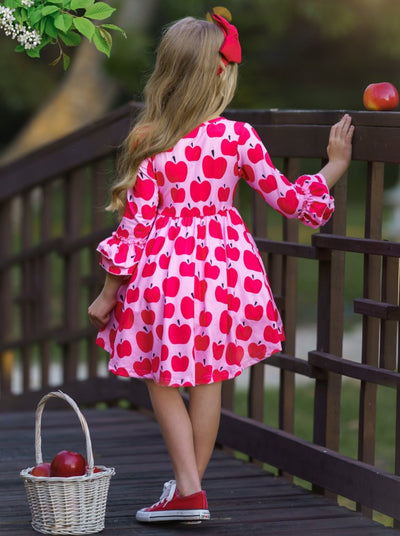 Girls Hi-Lo Crochet Trim Double Ruffle Sleeve Dress