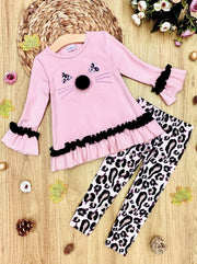 Girls Kitty Face Ruffled Tunic and Leopard Leggings Set