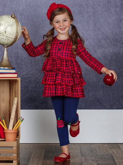 Girls Tiered Buttoned Tunic and Apple Leggings Set