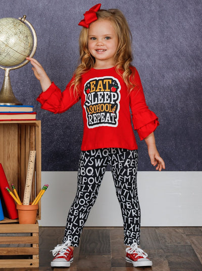 "Girls ""Eat, Sleep, School, Repeat"" Double Ruffle Sleeve Top and Alphabet Leggings Set"