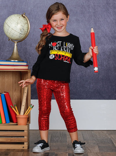 "Girls ""Most Likely to Rule the School"" Double Ruffle Sleeve Top and Sequin Leggings Set"