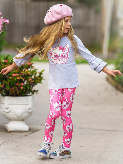 Girls Double Ruffle Sleeve Top and Leggings Set