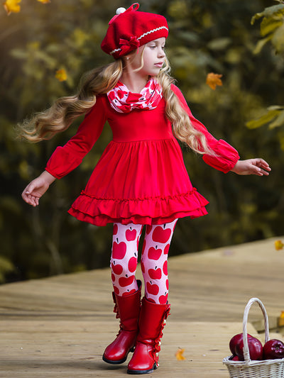 Girls Double Ruffle Hem Tunic, Apple Print Leggings and Scarf Set