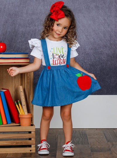 "Girls ""Live Love Learn"" Ruffled Top and Apple Denim Suspender Skirt Set"