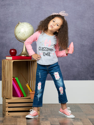 "Girls ""Classroom Cutie"" Raglan Top and Apple Patched Jeans Set"