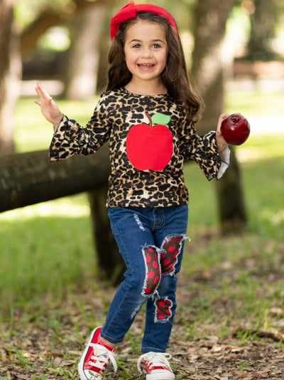 Girls Leopard Apple Applique Ruffled Top and Patched Jeans Set