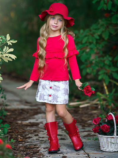 Girls Ruffled Bow Top and Buttoned Apple Print Skirt Set