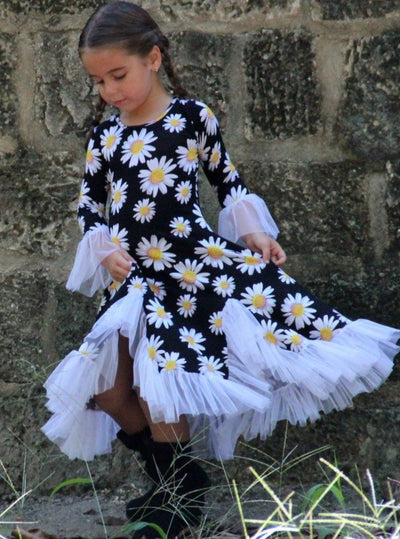 Girls Bell Sleeve Insert Ruffled Dress