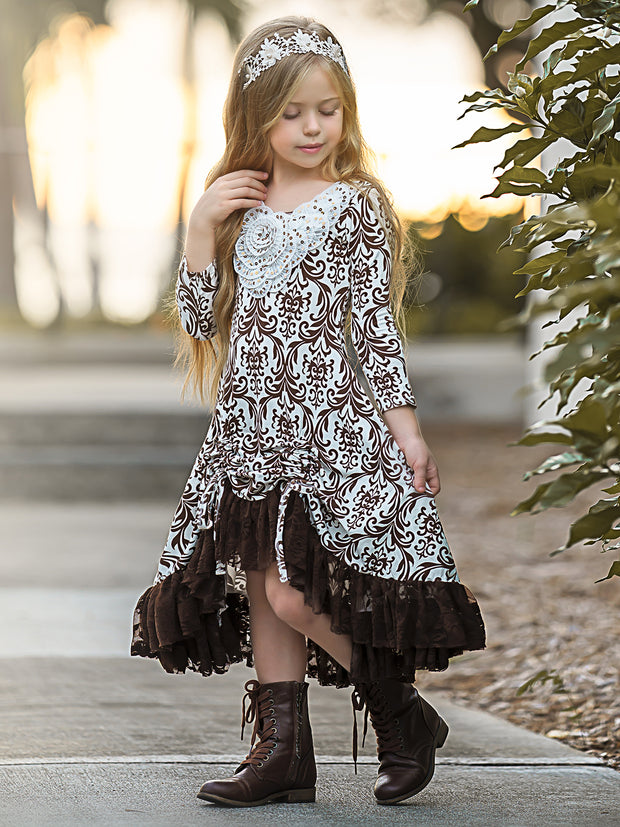 Girls Hi-Lo Drawstring Dress with Lace Ruffled Hem & Sequin Collar