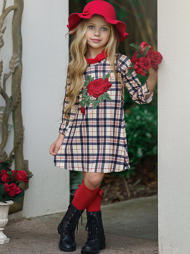 Girls Asymmetric Sleeve Turtle Neck Dress