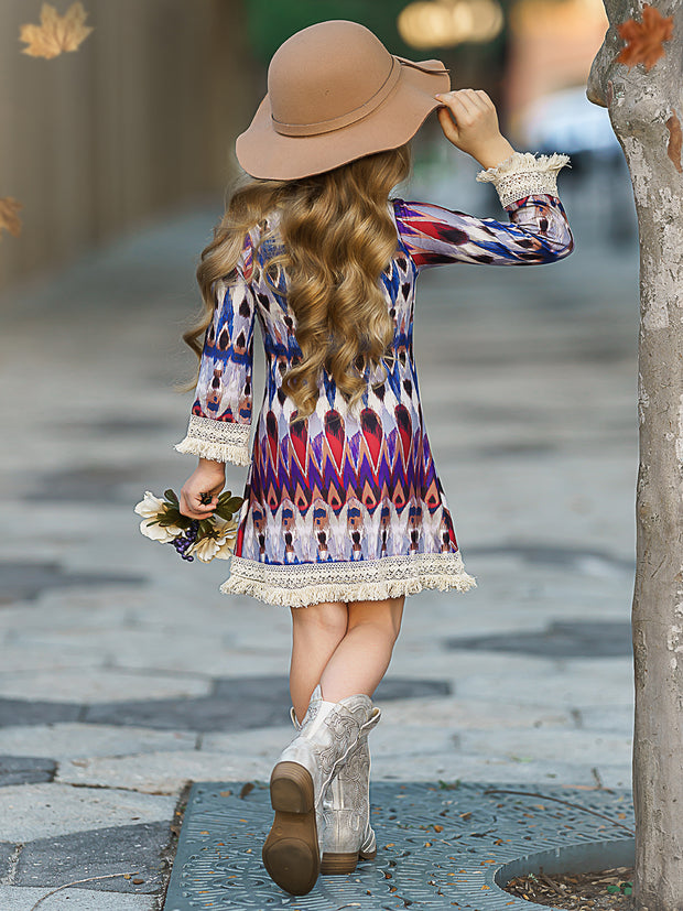 Girls Long Sleeve Tribal Print A-Line Crochet Fringe Twiggy Dress