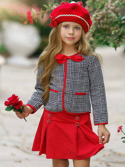 Girls Preppy Navy & Creme Tweed Red Bow Pocket Jacket & Red Pleated Skirt Set