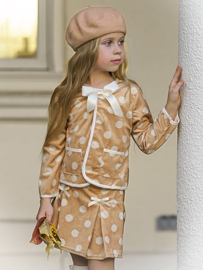 Girls Preppy Polka Dot Pocket Jacket with Bow & Matching Pleated Skirt Set