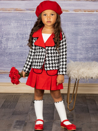 Girls Preppy Black & White Houndstooth Tweed Red Collared Blazer & Red Pleated Pocket Skirt Set