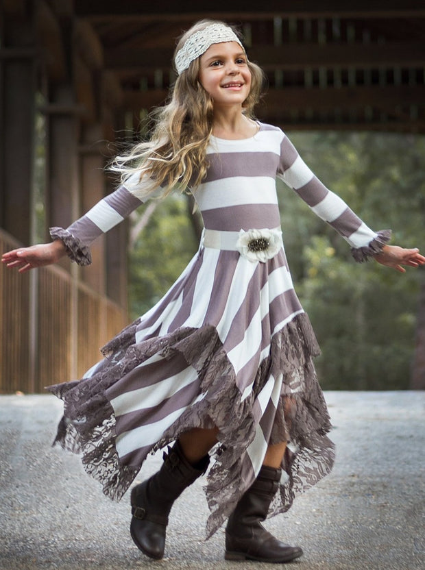 Girls Long Sleeve Striped Double Layer Handkerchief Dress with Ruffled Lace Hem & Satin Flower Sash