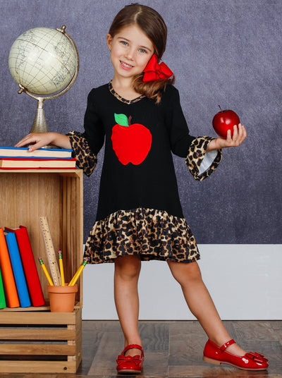 Girls Apple Print Cross Front Dress with Animal Print Ruffles