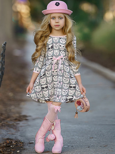 Girls Trimmed Scoop Back Twirl Dress
