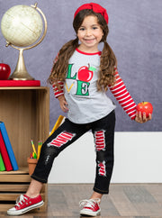 Girls Apple Applique Raglan Sleeve Top & Patched Denim Set